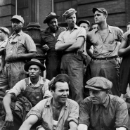 Dockworkers faces, NYC, 1947